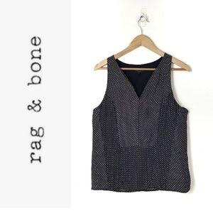 Rag & Bone Black and White Printed Silk Top